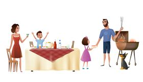 Rodzinny Wakacyjny Obiadowy kreskówka wektoru pojęcie ilustracji