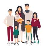 rodzinny wielki portret Azjata matka, ojciec i pięć dzieci, Szczęśliwi ludzie z krewnymi Kolorowa płaska ilustracja ilustracja wektor