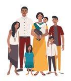 rodzinny wielki portret Indianin matka, ojciec i pięć dzieci, Szczęśliwi ludzie z krewnymi Kolorowa płaska ilustracja ilustracji