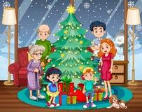 Rodzinny zgromadzenie na bożych narodzeniach ilustracja wektor