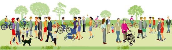 Rodziny outdoors w parku ilustracja wektor