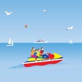 rodziny strumienia narta plażowa rodzina cztery sand tropikalnych urlopowych biały potomstwa Zdjęcia Royalty Free
