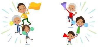 Rodziny trzy pokoleń black_Support doping ilustracja wektor