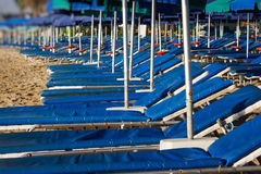 Roe of striped deck chairs on the beach Stock Images