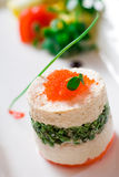 Roe toon tofu food. Fresh roe, the perfect combination of Toon and tofu! Chinese and Western food Stock Photo