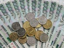 Roebels en muntstukken, Russisch geld, macrowijze Royalty-vrije Stock Afbeeldingen