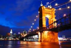 Roebling Bridge, Cincinnati. The Roebling Bridge, connecting Cincinnati to Covington, Kentucky, served as the working model for the Brooklyn Bridge Stock Photography