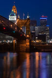 Roebling Suspension Bridge and Cincinnati Royalty Free Stock Photo