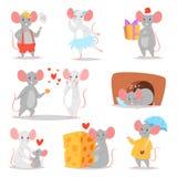 Roedor animal cinzento do caráter do vetor do rato dos desenhos animados e rato engraçado com grupo mousey da ilustração do queij ilustração royalty free