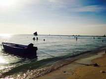 Roeiboot door het strand Stock Fotografie
