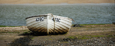 Roeiboot op overzeese kust Royalty-vrije Stock Fotografie