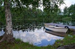 Roeiboot op Zweedse meerkust Stock Fotografie