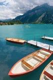 Roeiboten op Meer Brienz, Berne Kanton, Zwitserland stock afbeeldingen