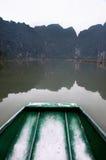 Roeiende Boot en Karst, Tam Coc stock afbeeldingen
