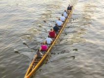 Roeiers die op de rivier opleiden Stock Afbeeldingen