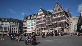 Roemberberg square in Frankfurt, Germany stock footage