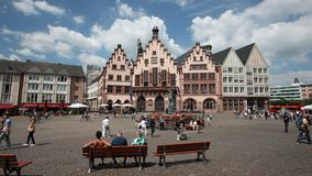 Roemberberg square in Frankfurt, Germany stock video footage