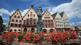 Roemberberg square in Frankfurt, Germany stock footage