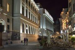 Roemeens National Bank bij nacht stock foto