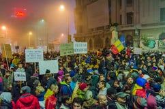 Roemeens Protest 06/11/2015, Boekarest Stock Foto
