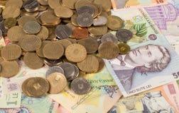 Roemeense geldachtergrond royalty-vrije stock foto's
