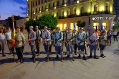 Roemeense Legerparade in Boekarest, Roemenië Stock Fotografie