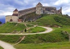 Roemeense Oriëntatiepunten - het Middeleeuwse Fort van Rasnov stock foto's