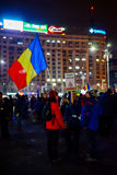 Roemeense protest 22ste dag in Boekarest, Roemenië Royalty-vrije Stock Foto's