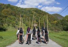 Roemeense traditionele kostuums Royalty-vrije Stock Foto's