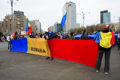 Roemeense vlag bij Europese Unie dag, Boekarest, Roemenië Stock Fotografie
