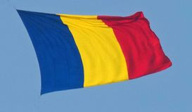 Roemeense vlag in lucht royalty-vrije illustratie