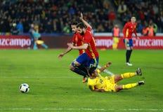 Roemeense voetbalster Nicolae Stanciu in actie tegen Spanje Royalty-vrije Stock Fotografie