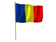 Roemeense zijdevlag Stock Fotografie