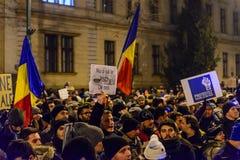 2017 - Roemenen-protesten tegen het plan van de gevangenegratie Brasov, Royalty-vrije Stock Foto's