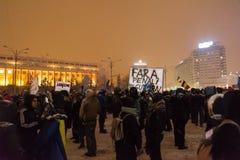 Roemenen protesteren tegen overheid Royalty-vrije Stock Foto