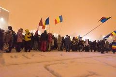 Roemenen protesteren tegen overheid Stock Afbeeldingen