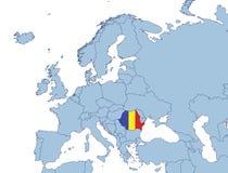Roemenië op de kaart van Europa Stock Afbeeldingen