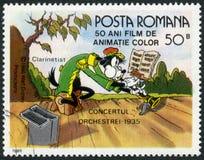 ROEMENIË - 1986: toont Clarinetist, Walt Disney-karakters in het Bandoverleg, 1935, toegewijd vijftig jaar van Kleur animeerde Fil royalty-vrije illustratie