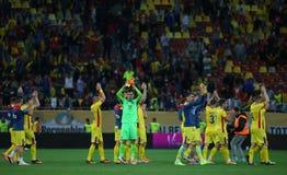 Roemenië versus Luxemburg (het Europese Kampioenschap van UEFA, dat rond kwalificeert) Piatra Neamt (Roemenië), op 29 maart 2011  Royalty-vrije Stock Fotografie