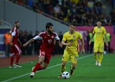 Roemenië versus Luxemburg (het Europese Kampioenschap van UEFA, dat rond kwalificeert) Piatra Neamt (Roemenië), op 29 maart 2011  Royalty-vrije Stock Foto