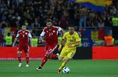 Roemenië versus Luxemburg (het Europese Kampioenschap van UEFA, dat rond kwalificeert) Piatra Neamt (Roemenië), op 29 maart 2011  Royalty-vrije Stock Afbeelding