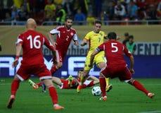 Roemenië versus Luxemburg (het Europese Kampioenschap van UEFA, dat rond kwalificeert) Piatra Neamt (Roemenië), op 29 maart 2011  Royalty-vrije Stock Afbeeldingen