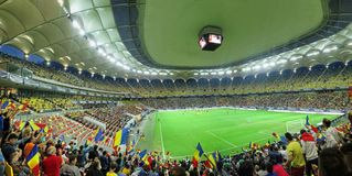 Roemenië versus Trinidad Tobago-voetbalgelijke op Nationaal Arenastadion Boekarest, Roemenië Stock Foto