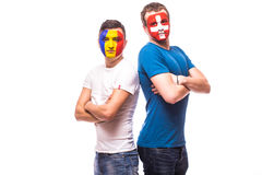 Roemenië versus Zwitserland vóór spel op witte achtergrond Royalty-vrije Stock Fotografie