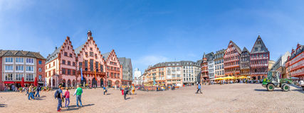 Roemer, Frankfurt Panorama. Panorama of the Roemerberg square in Frankfurt, Germany Stock Photos