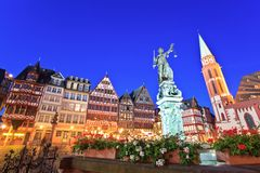 Romer - Frankfurt. Lady justice on the Roemer place old town of Frankfurt, Germany Stock Photos