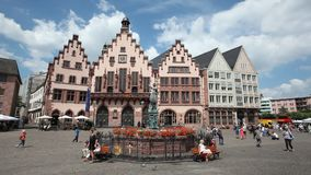 Roemerberg square in Frankfurt Main stock footage