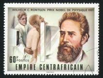 Roentgen. CENTRAL AFRICAN REPUBLIC - CIRCA 1977: stamp printed by Central African Republic, shows Nobel Prize, Wilhelm C. Roentgen, circa 1977 Stock Photography