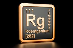 Roentgenium Rg chemical element. 3D rendering. Roentgenium Rg, chemical element. 3D rendering isolated on black background Royalty Free Stock Photo
