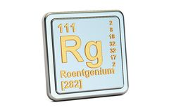 Roentgenium Rg, chemical element sign. 3D rendering. Isolated on white background Royalty Free Stock Photo